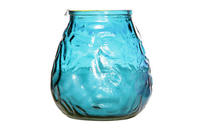 Kaars in glas Lowboy groot turqoise/blauw (D10XH10.5 centimeter)