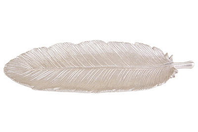 Schaal feather champagne polyresin
